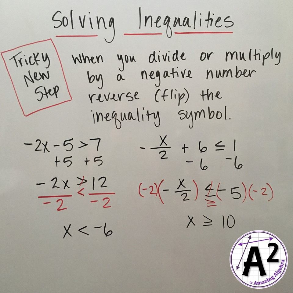 Solving Inequalities Now Introduce Them To The Tricky Part Dividing Or Multiplying By A Negative Prove Solving Inequalities Secondary Math School Algebra