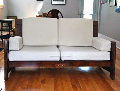 Before After Sofa Made From Old Doors Built In Couch Diy Sofa Sofa Frame