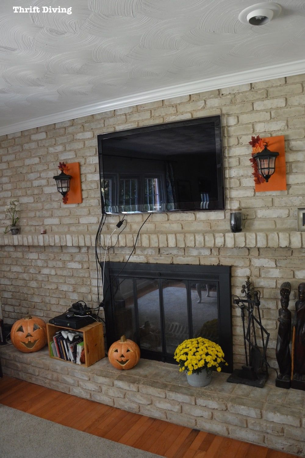 Tutorial how to paint a brick fireplace with brick anew in