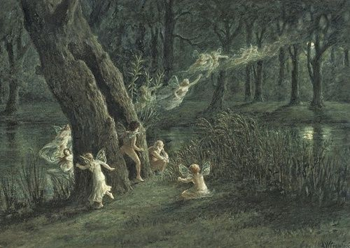 """A. W. Crawford, """"Woodland fairies in the moonlight"""""""