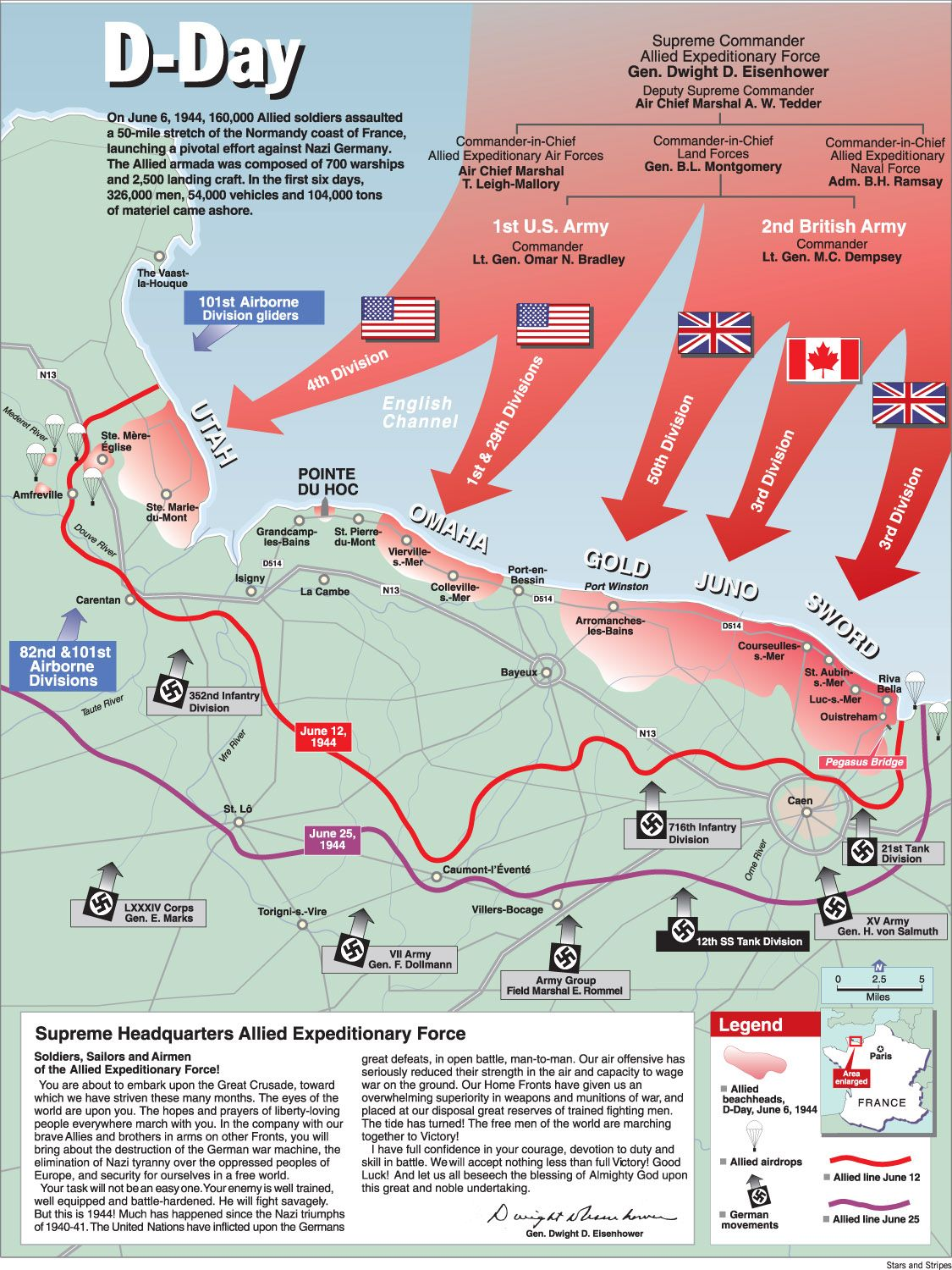 Map of the Battle of Normandy: This map shows the routes that the ...
