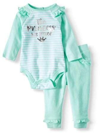 ee35a146 Garanimals Raglan Bodysuit & Ruffle Jogger Pants, 2pc Outfit Set (Baby  Girls)
