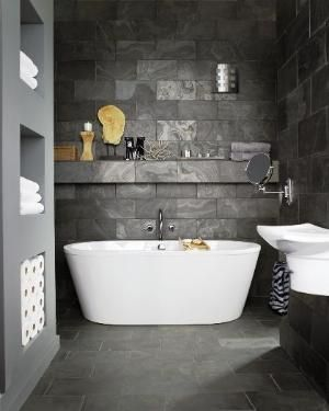 Concrete tiles bathroom ♥ by delia