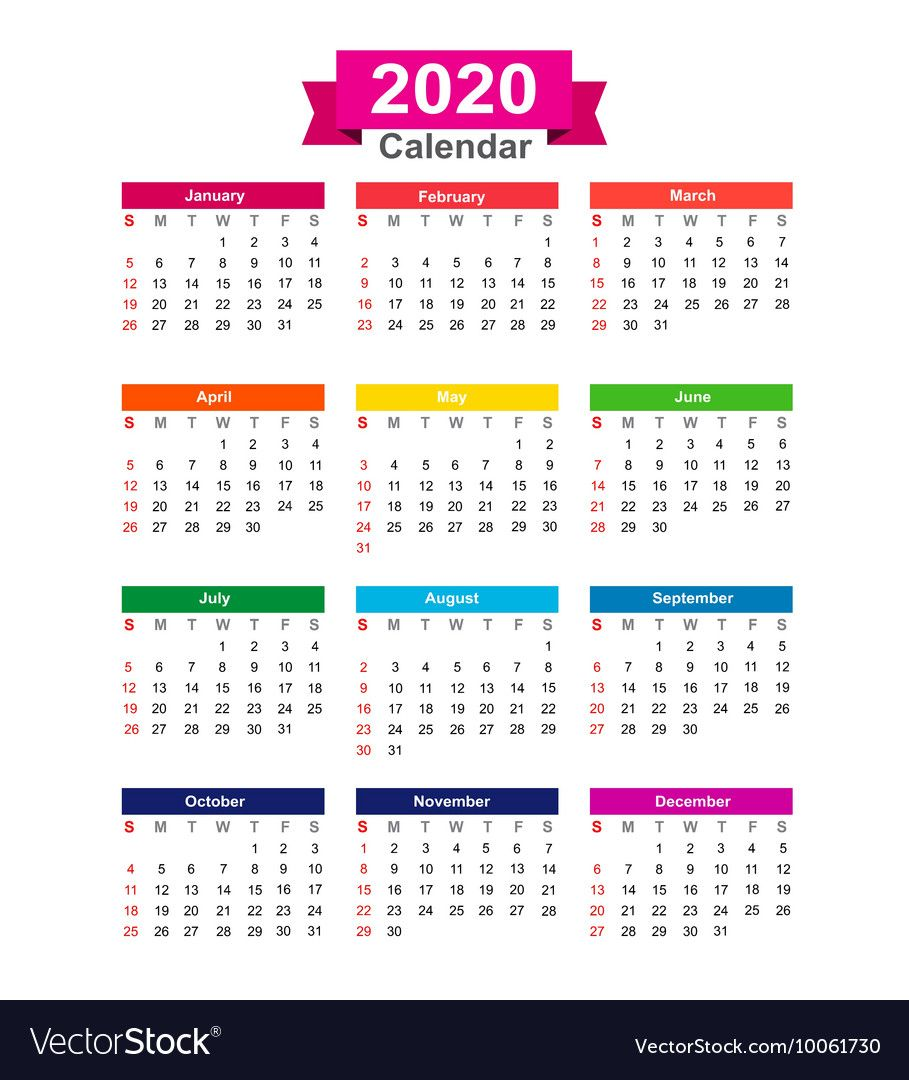 2020 Year Calendar Isolated On White Background Eps10 Download A Free Preview Or High Q Yearly Calendar Template Calendar Template Printable Calendar Template