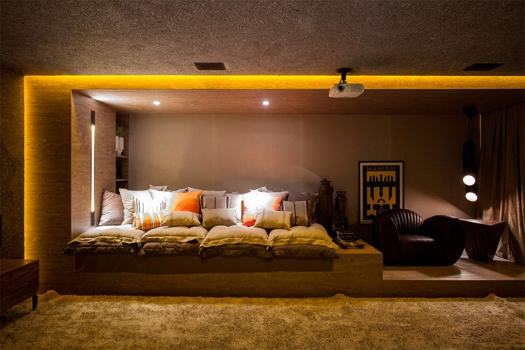Interior Designs,Fascinating Home Theater Design Ideas With Soft Fur Rug  And Illuminated Yellow Neon Light Featuring Cozy Sleeper Sofa And Lavish  Leather ...