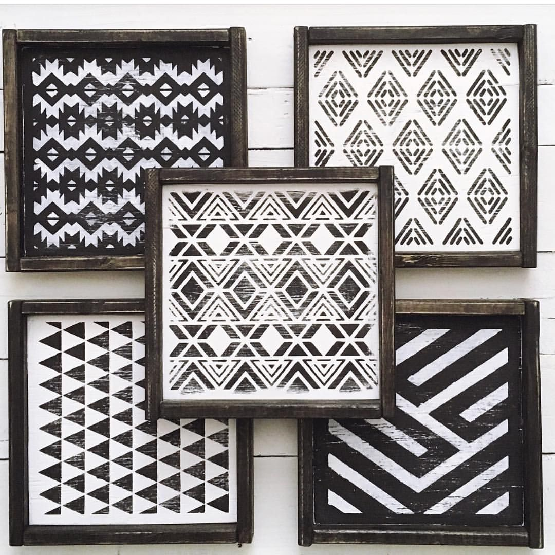 Black And White Geometric Aztec Tribal Print Wall Art Monochromatic Wall Decor Gallery Wall Modern F Aztec Decor Geometric Decor Black And White Decor