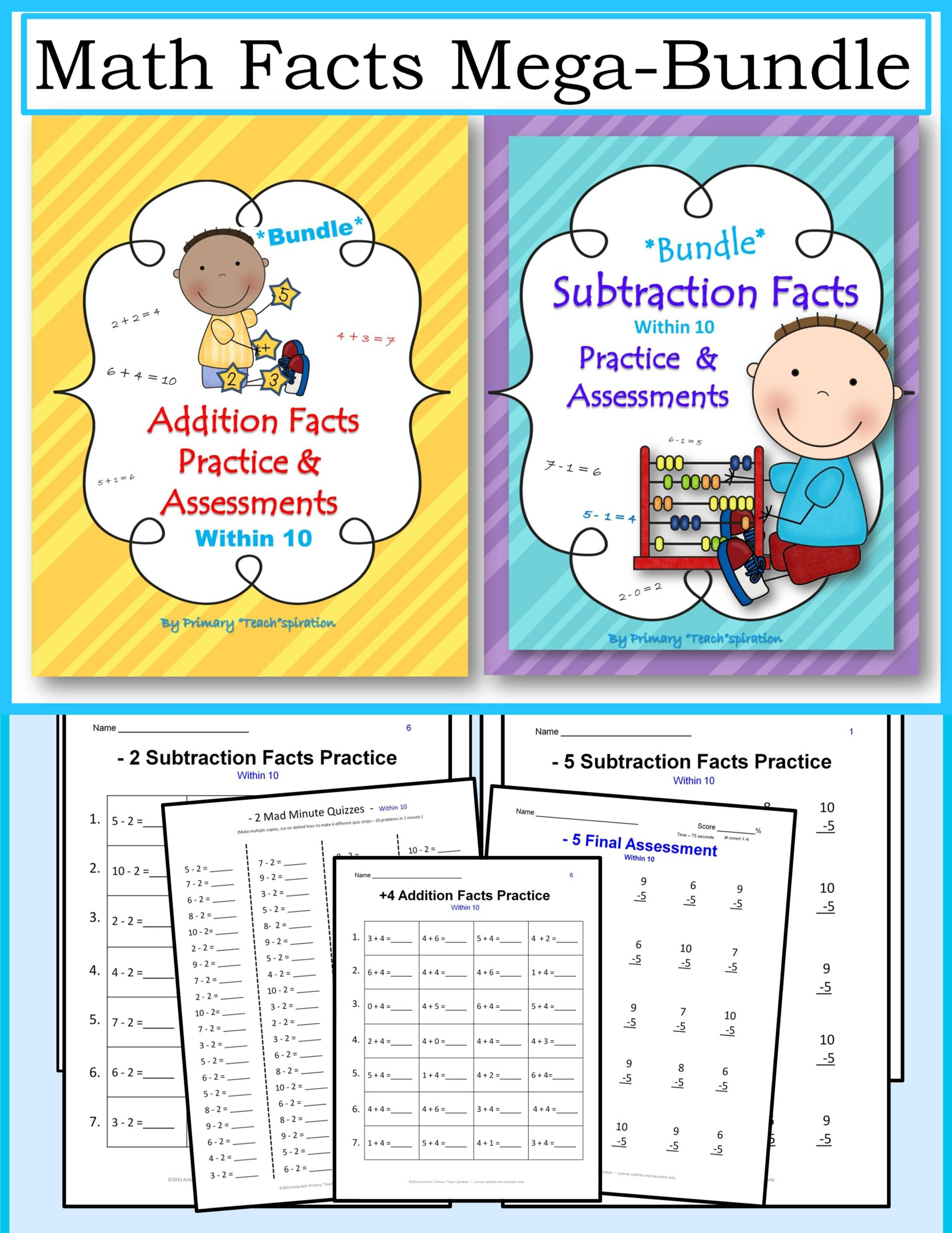 Addition Amp Subtraction Facts Practice Worksheets And
