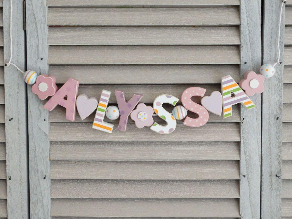 "kinderzimmer shabby chic, details zu ""emilia"" namenskette rosa kinderzimmer holzbuchstaben, Design ideen"
