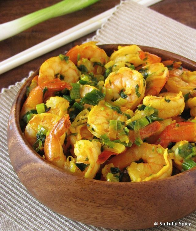 Shrimp Stir Fry With Scallions and Fenugreek Leaves