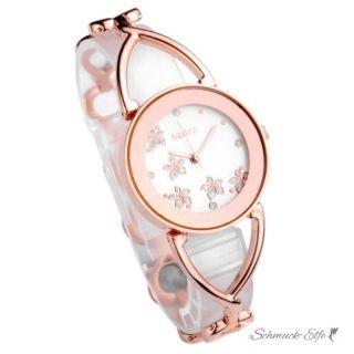 Damen Edelstahl Armbanduhr Blüten  Rosegold