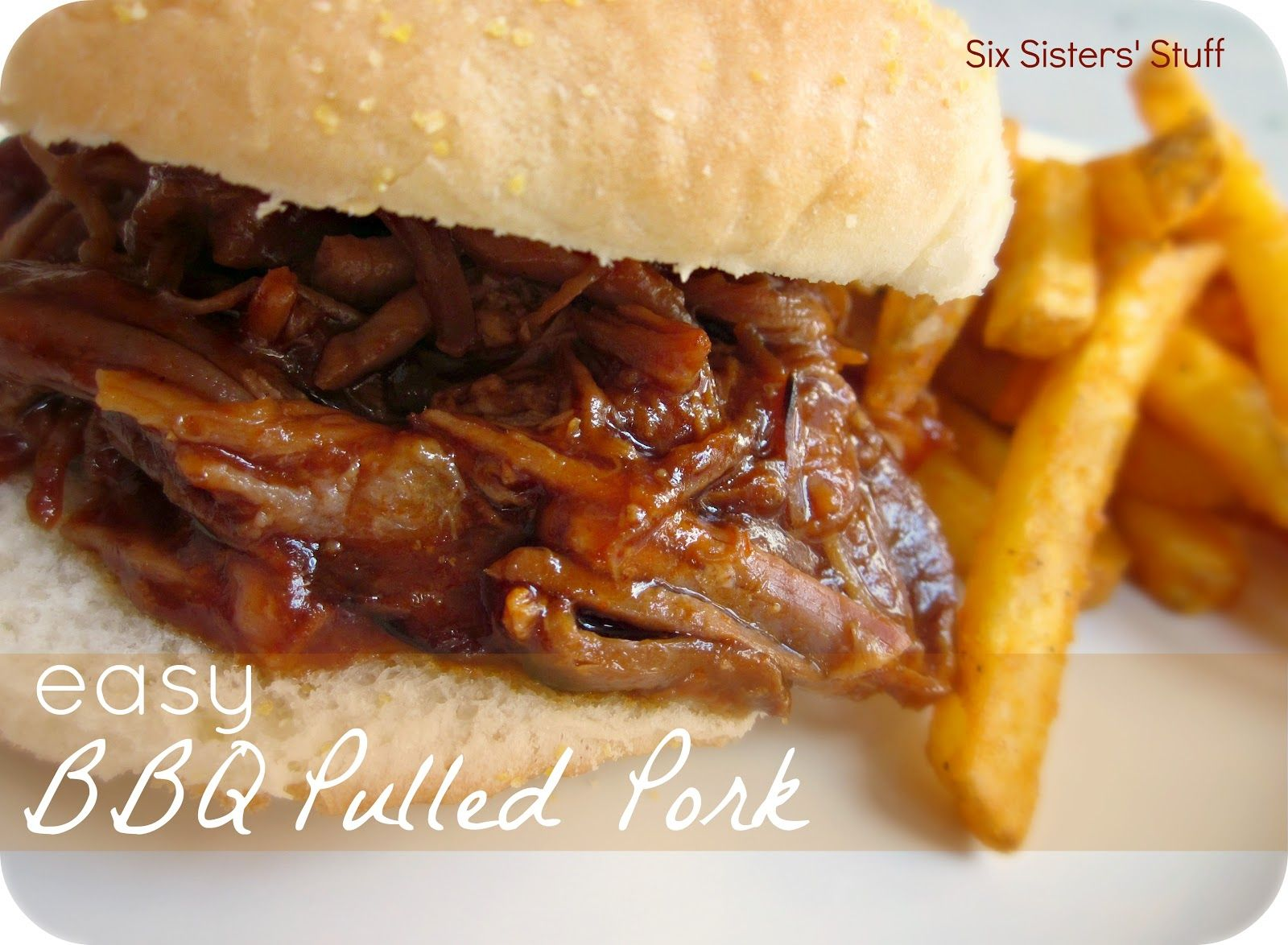 Six Sisters' Stuff: Easy Slow Cooker BBQ Pulled Pork Sandwiches