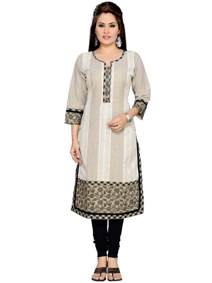 Impressive beige color khadi kurti beautified with floral print
