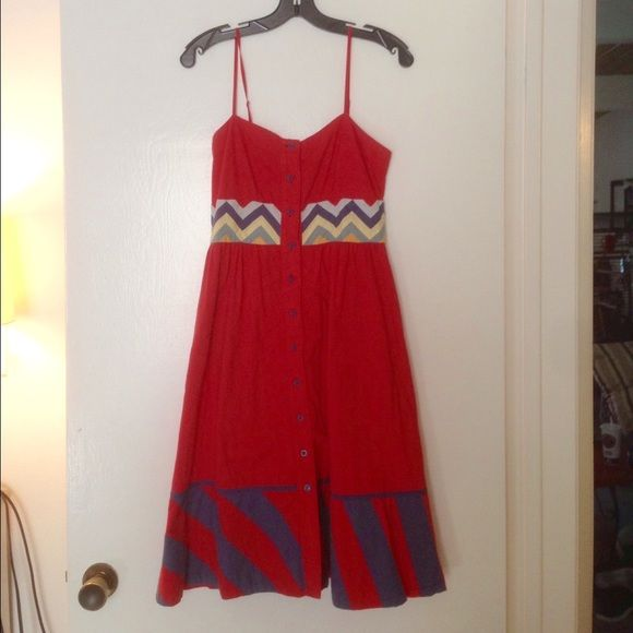 """Free people red dress Red and navy dress by free people. Has pockets on the side, buttons down the front. I'm 5'4"""" the dress hits me about an inch below the knee. fantastic condition. 100% cotton. Free People Dresses Midi"""