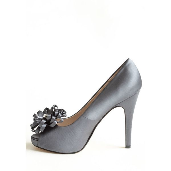 Chantelle Embellished Heels In Midnight Blue ($30) ❤ liked on Polyvore featuring shoes, pumps, heels, rhinestone platform pumps, floral shoes, peep-toe pumps, platform pumps and floral print pumps