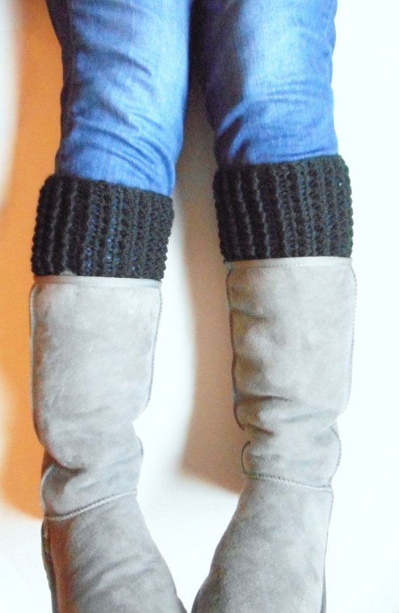 Chunky Boot Cuffs in Black Wool Blend MADE TO ORDER. by #luvbuzz  #crochet, #bootcuffs, #black, #winteraccessories, #winterfashion, #fallfashion, #fallaccessories, #women, #teens, #wintergifts, #luvbuzz, #handmadegifts, #etsyshopping, #shopsmall, #supporthandnmade