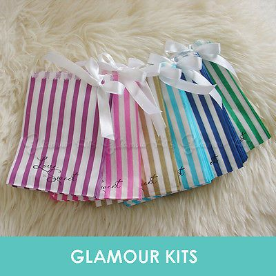 50 LOVE IS SWEET STRIPED RETRO CANDY BAGS SHOP BAR SWEETIE BUFFET TABLE 6 colour