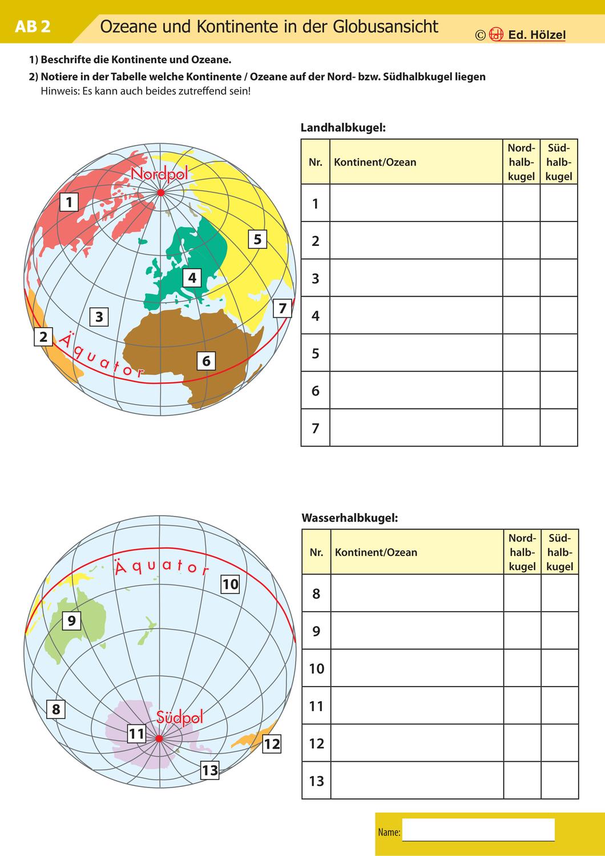 Kontinente und Ozeane – Unterrichtsmaterial im Fach Erdkunde ...