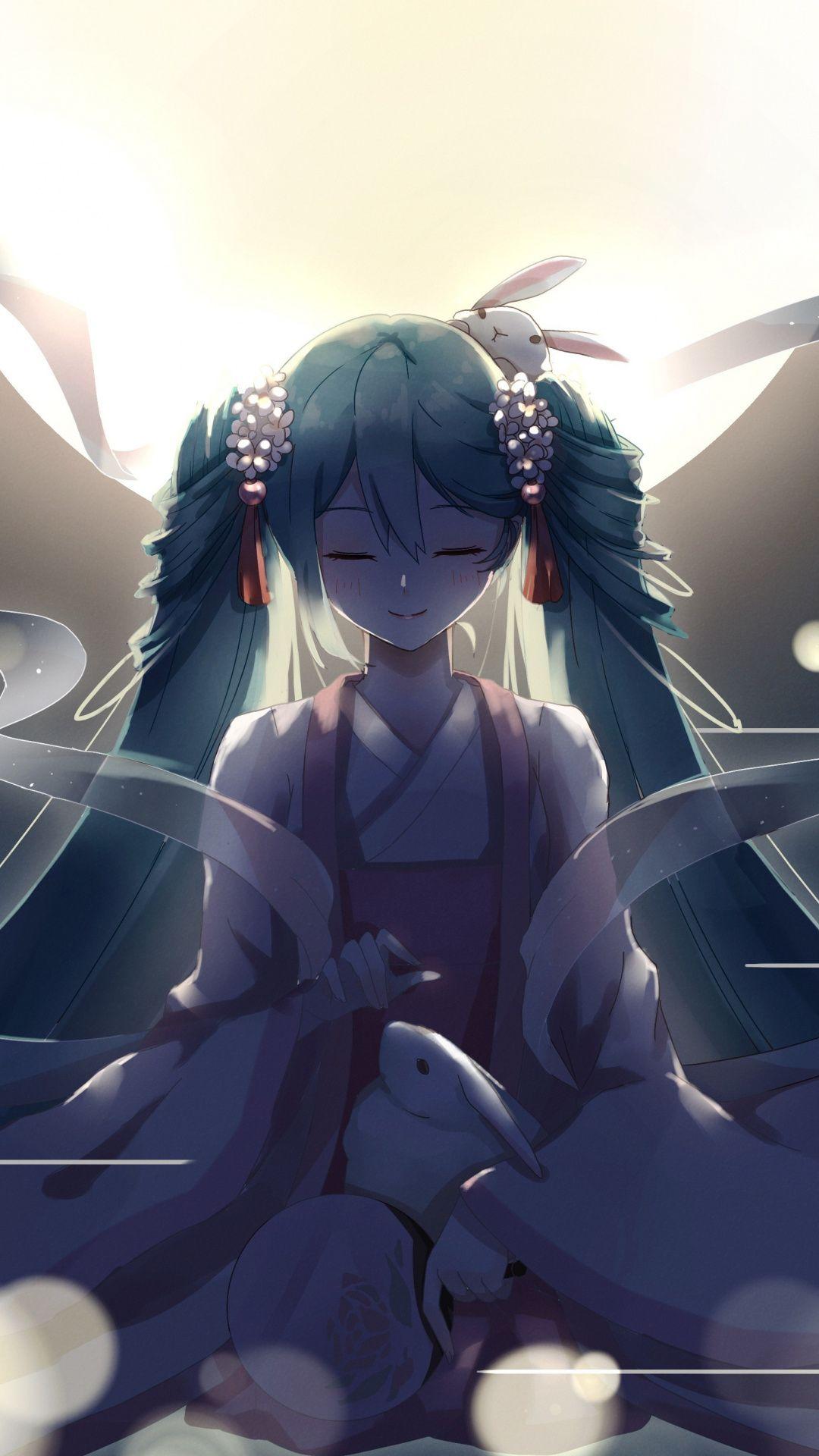 Pray, relaxed, Hatsune Miku, 1080x1920 wallpaper Anime