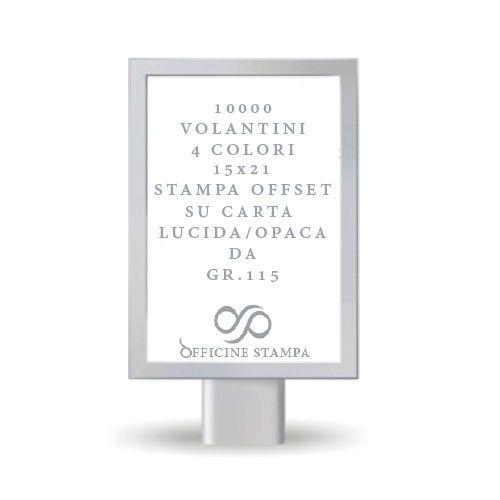10000 Volantini Formato 15x21(A5)carta lucida/opaca GR.115 fronte retro 4 colori