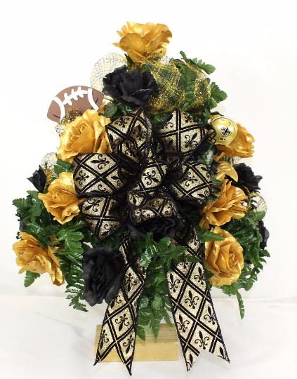 New Orleans Saints Fan Vase Cemetery Flower Arrangement, $42.99