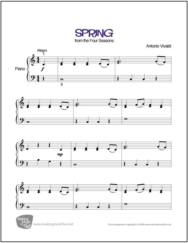 Spring Vivaldi With Images Piano Sheet Music