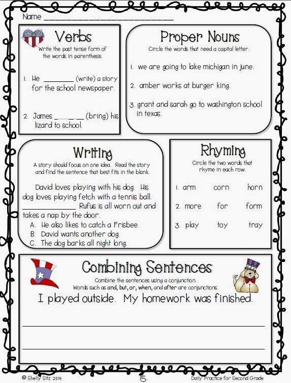 Language arts daily review for second grade--FREE sample pages ...