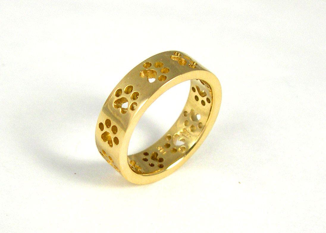 14k Yellow Paw Print Ring $67500, Via Etsy