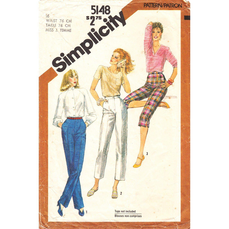 80s High Waist Pants Cropped Pants Capris Pattern Simplicity