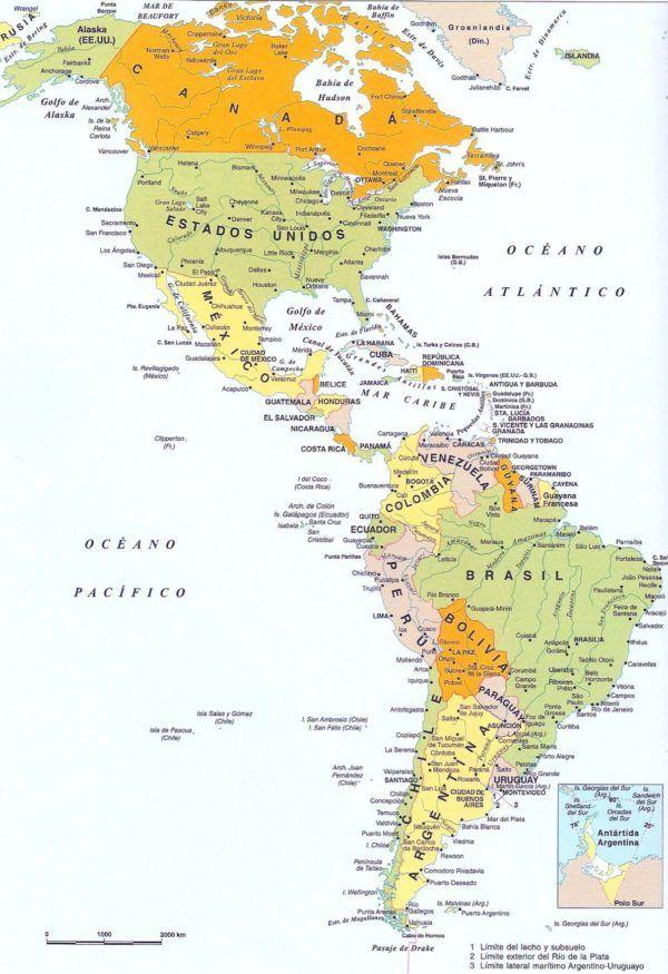 Mapa Político De América Países De América Del Norte Y América Del Sur Sobrehistoria Com Mapa De America Mapas Geograficos Mapa De America Del Sur
