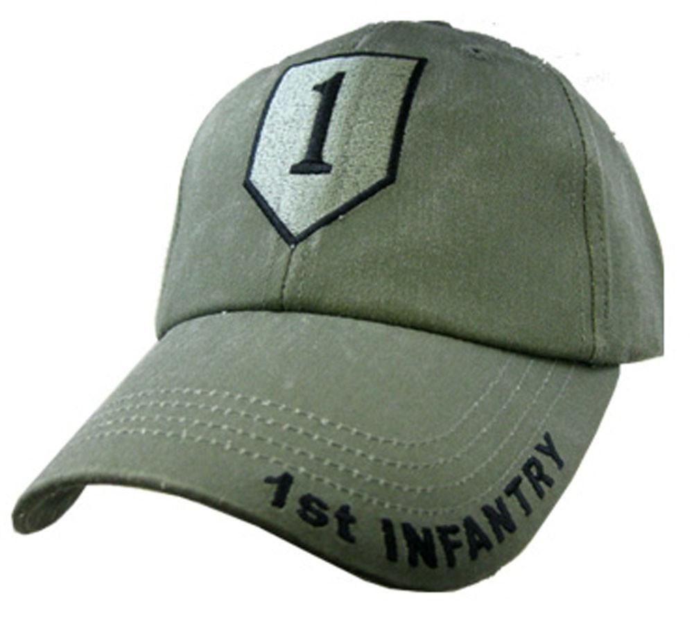 Army OD Green Baseball Cap U.S 1st Cavalry Insignia Hat