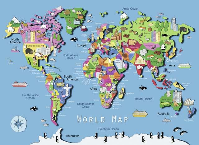 World map pinterest ravensburger puzzle geography and learning world map educational childrens puzzles gumiabroncs Images