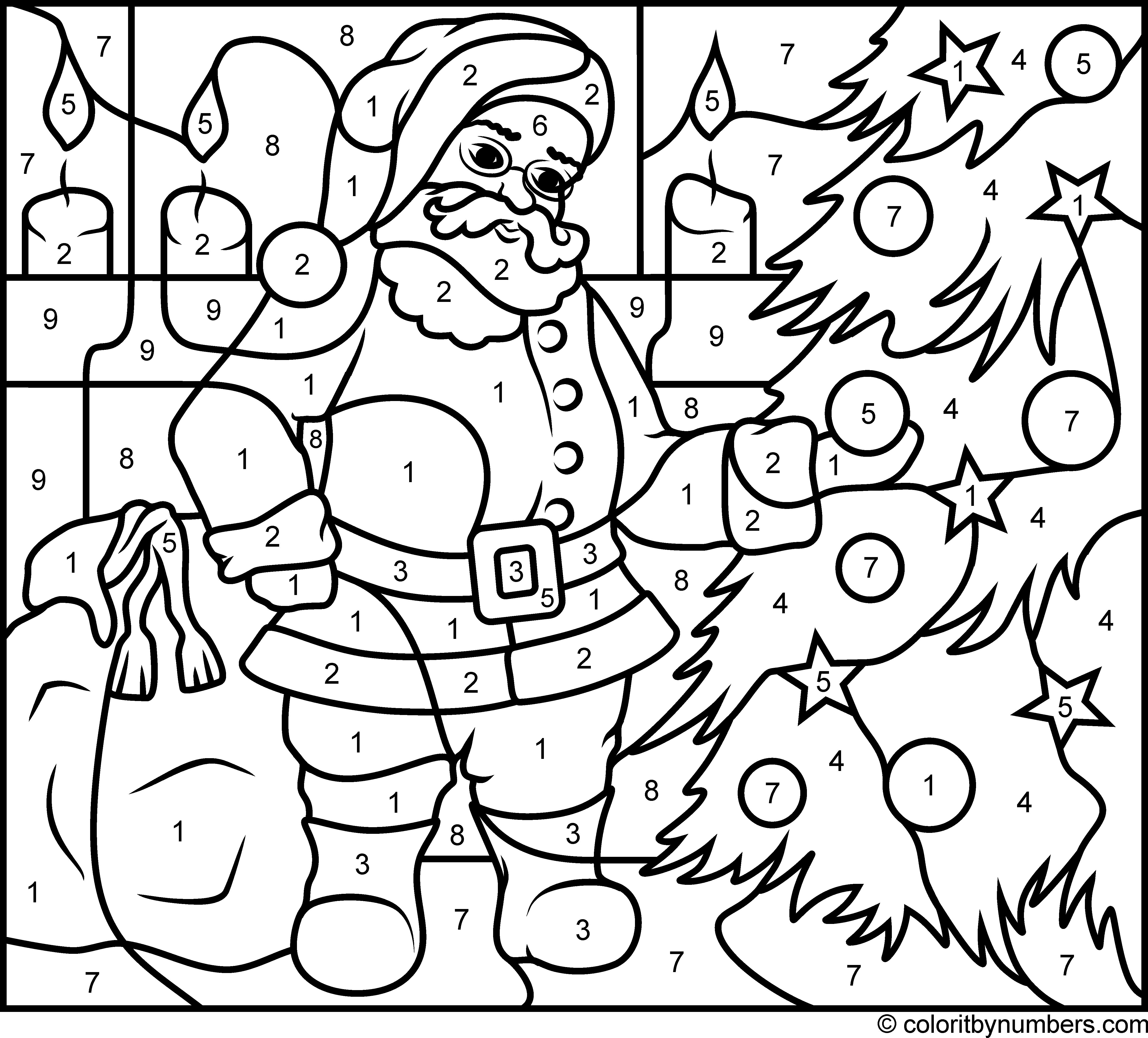 Santa Claus - Hard | Christmas present coloring pages ...
