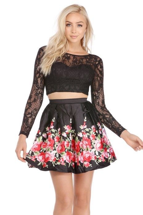 52ce0c63269 Roslyn Black Rose Print Two Piece Dress   Products   Two piece dress ...