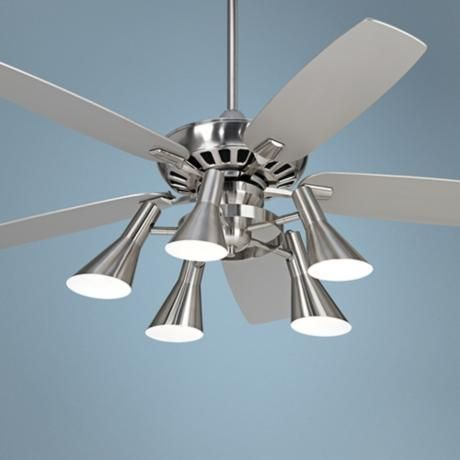 52 Quot Casa Vieja Journey Nickel Light Kit Ceiling Fan With