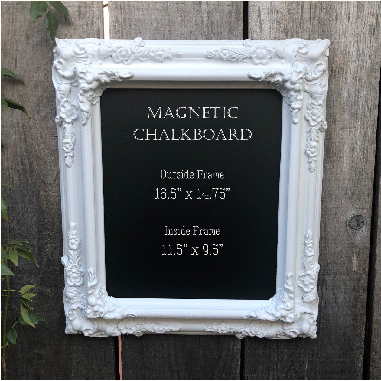 Vintage White Ornate Framed Magnetic Chalkboard Bar Sign Wedding Sign Magnet Board Glam Wedding Board Framed Magnetic Chalkboard Frame Magnetic Chalkboard