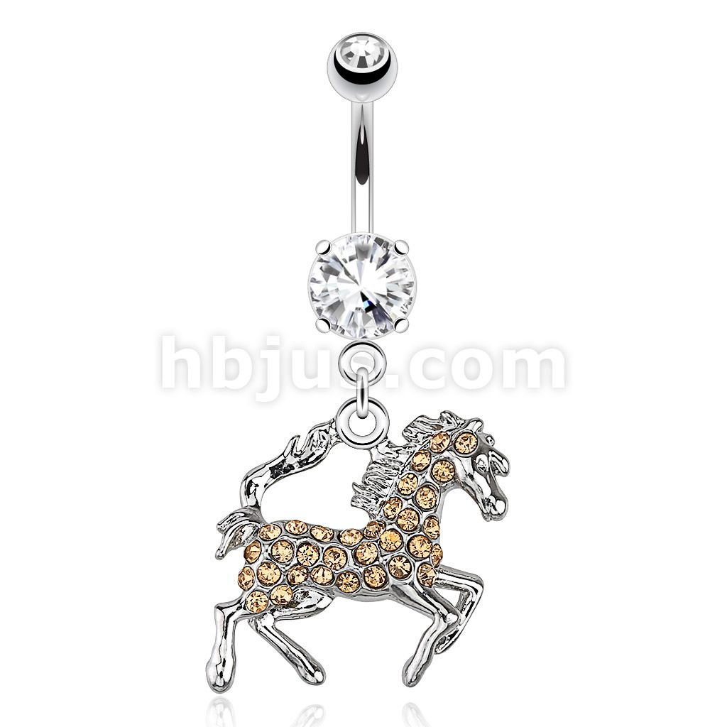 Horse with Paved Aurora Borealis Gems Dangle 316L Surgical Steel Navel Ring