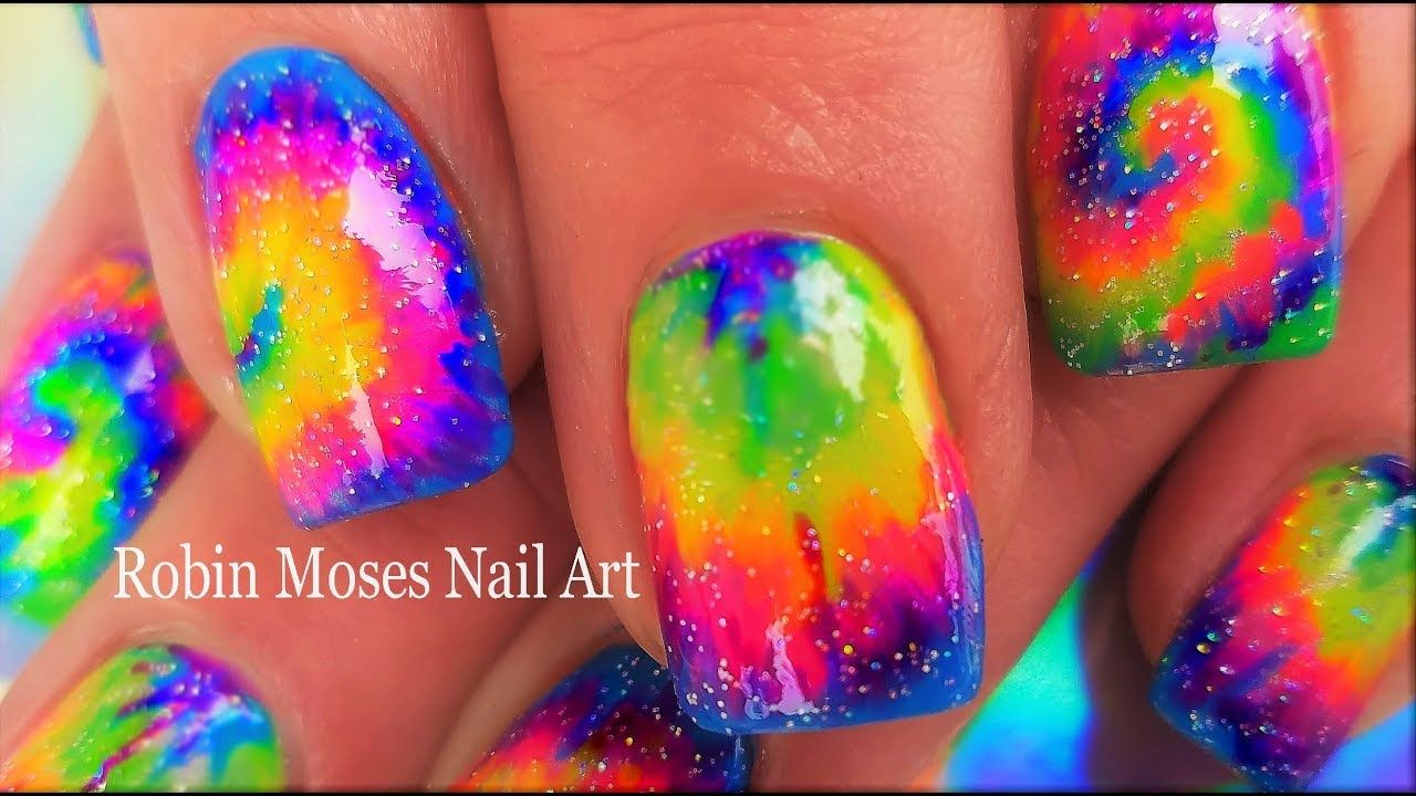 Easy Hand Painted Tie Dye Nail Art! | Spring Neon Nails Design ...
