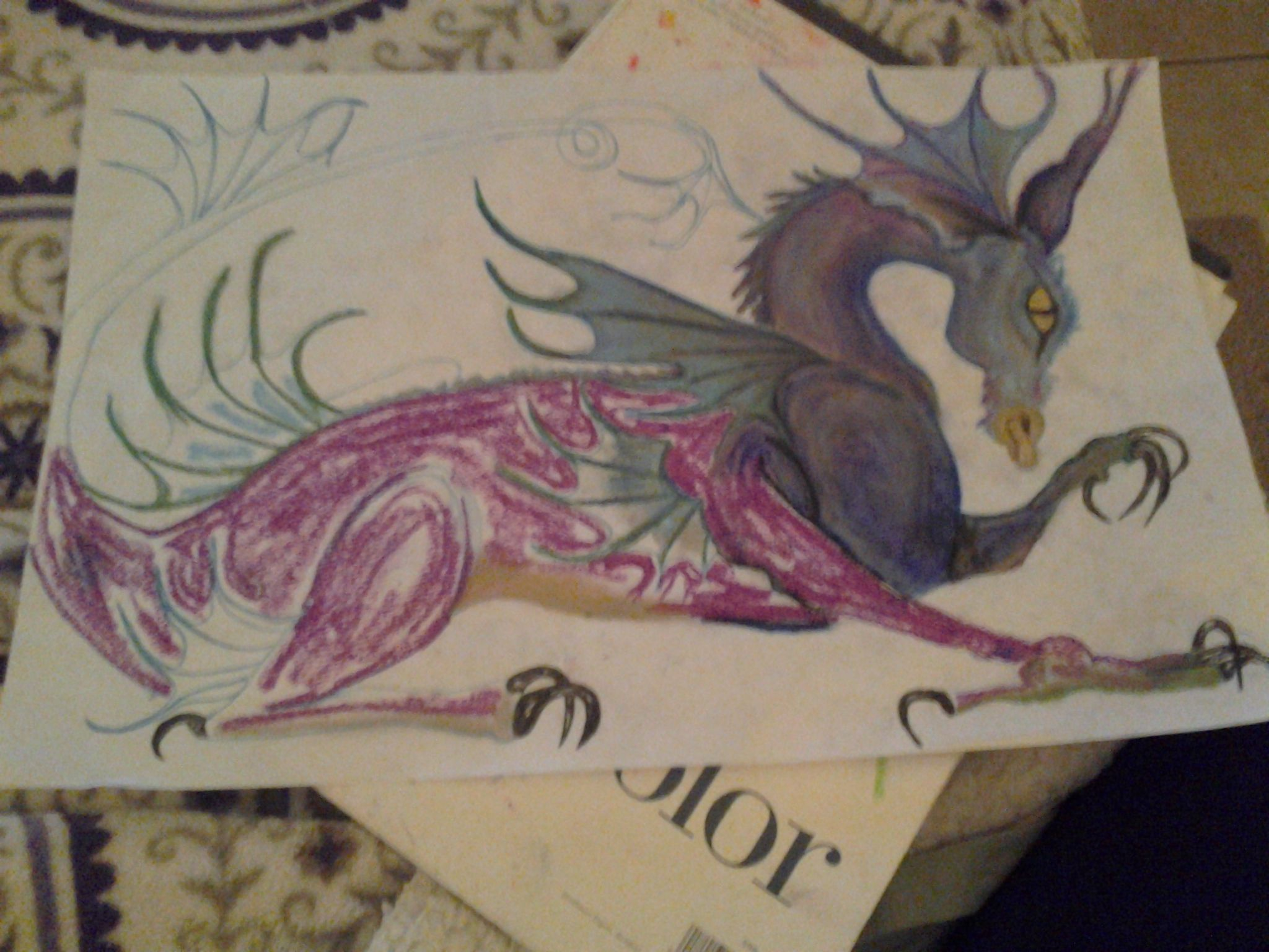 oil pastel dragon | My Art Projects | Art, Drawings, Fine art