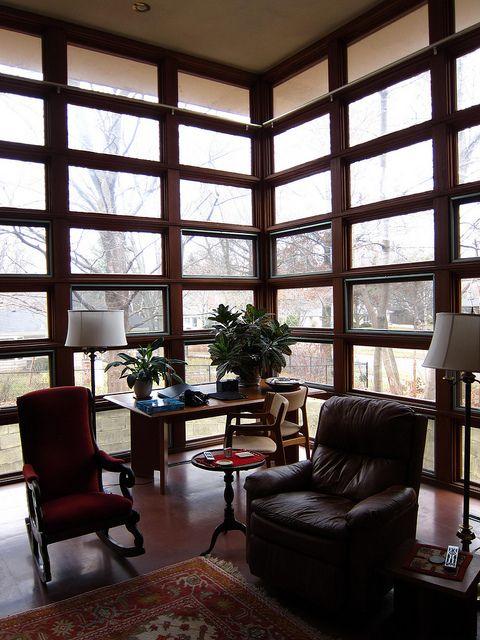 Floor to ceiling windows in rudin house living room