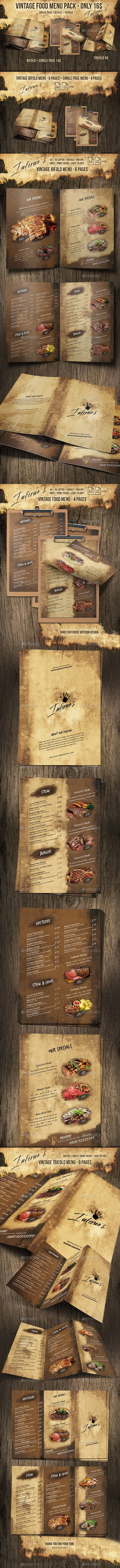 Infernos Vintage Menu Bundle | Identidad corporativa