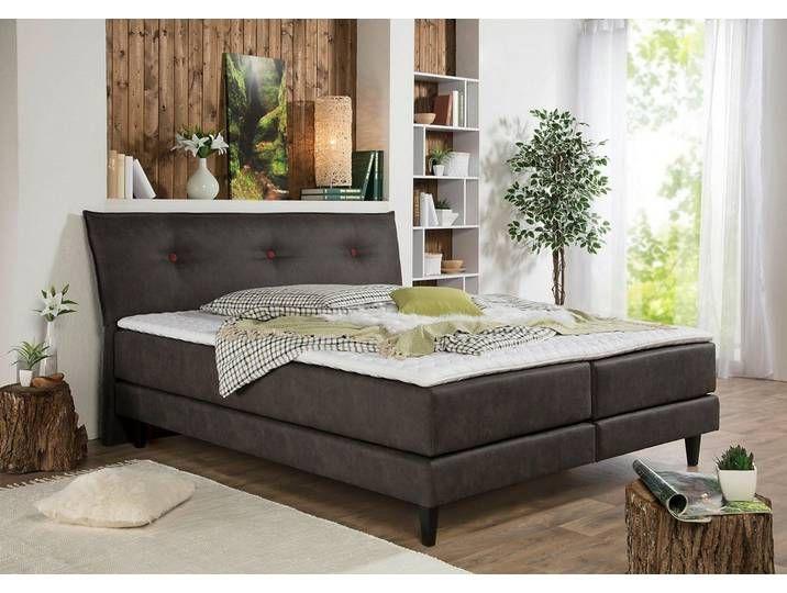 Home affaire Boxspringbett »Capaya«, 160×200 cm, Landhaus-Stil, grau,