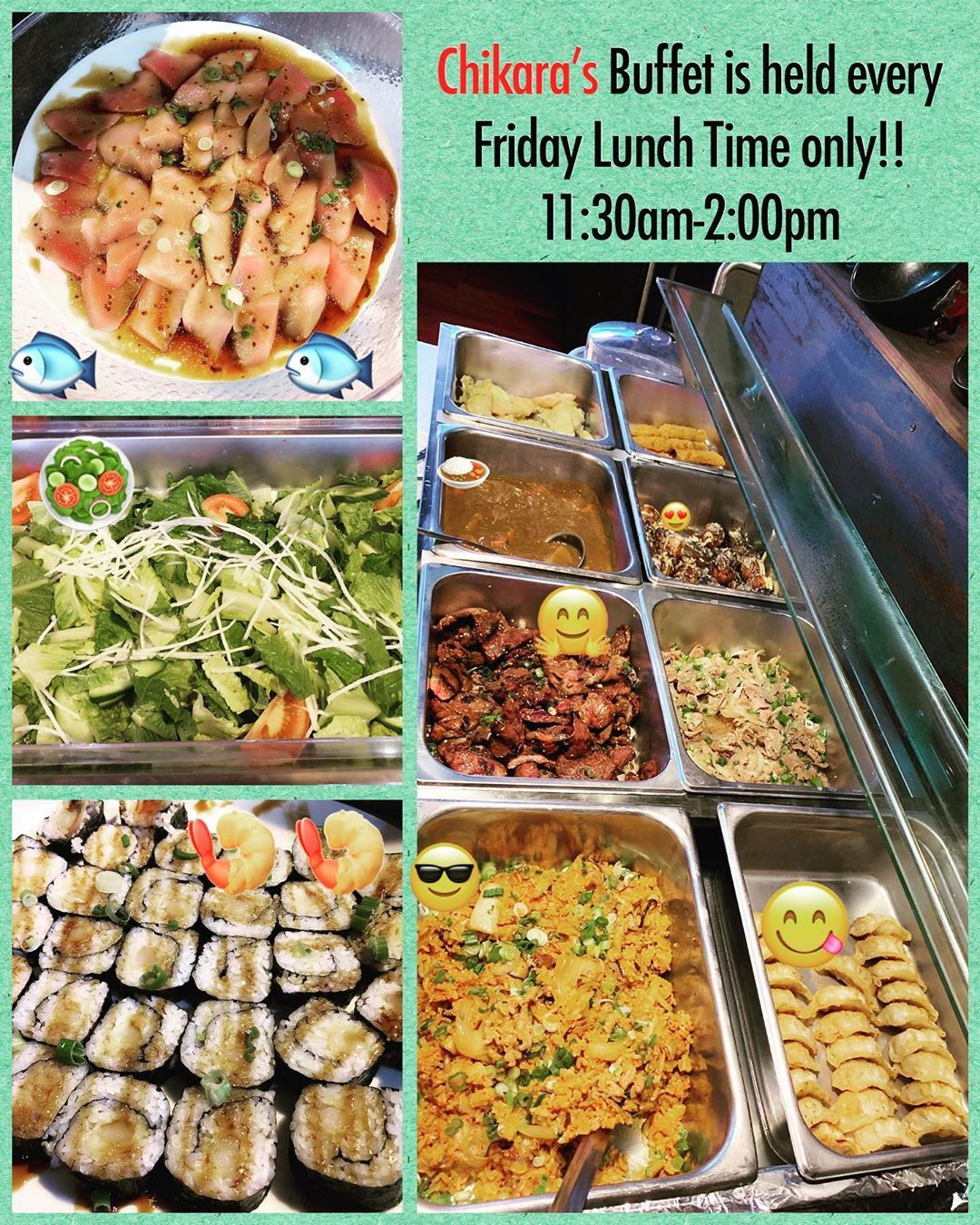 We Have Lunch Buffet Every Friday For Only 14 99 We Re Open 11 30am 2 00pm Stop By With Your Friends And Families Because Thi Lunch Buffet Lunch Ginger Pork