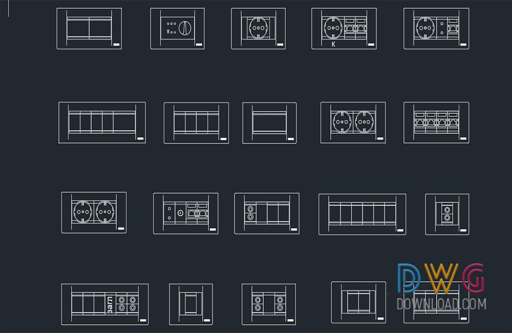 Dwg Download Electrical Sockets Switches Cad Blocks Cad Blocks