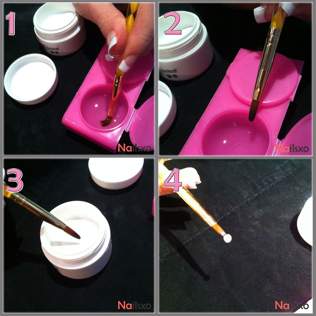 Creating Acrylic Nails at Home Tutorial ~ 1. Dab your brush into the monomer ----- 2. Scrape the brush on the side of the container ----- 3. Dip three times in the polymer ----- 4. Your bead shouldn't be too liquid-y or too powdery. #nails