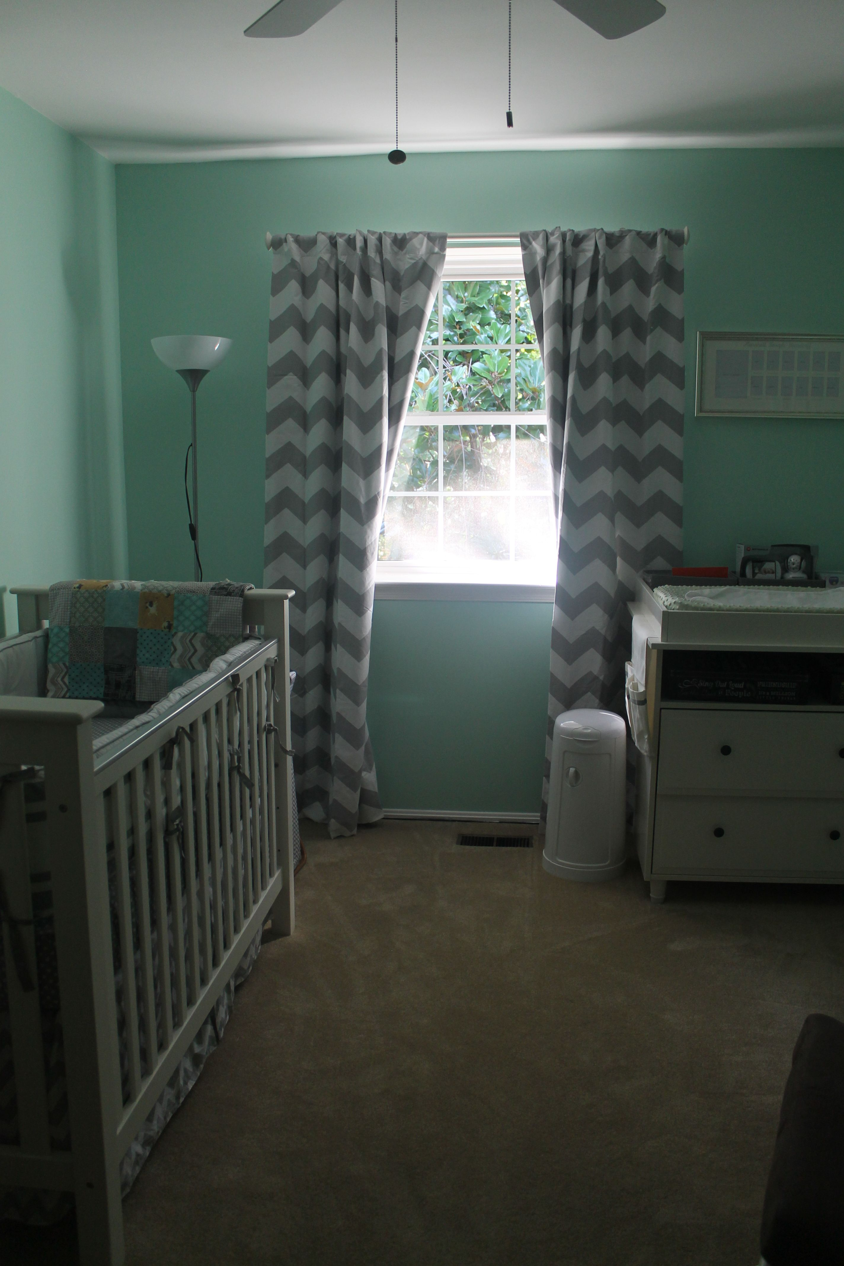 Mint Green Grey Chevron Mustache Nursery Baby Boy