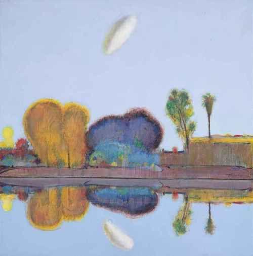 Wayne Thiebaud (American, b. 1920), Reflected Landscape, 1966-68. Oil on canvas, 40¼ x 40¼ in. (102.2 x 102.2 cm.)