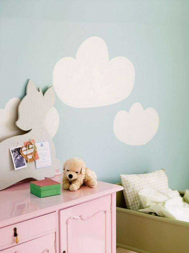 Ideal wand streichen muster ideen wolken babyzimmer mintgruene wandfarbe