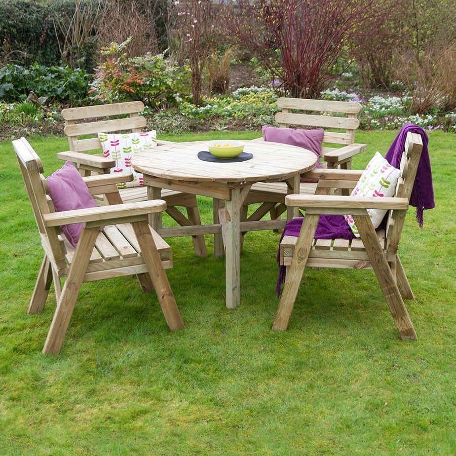 4 Seater Wooden Dining Set Round Table Armchairs Natural Wood Outdoor Furniture Garden Furniture Wooden Garden Furniture Colorful Furniture