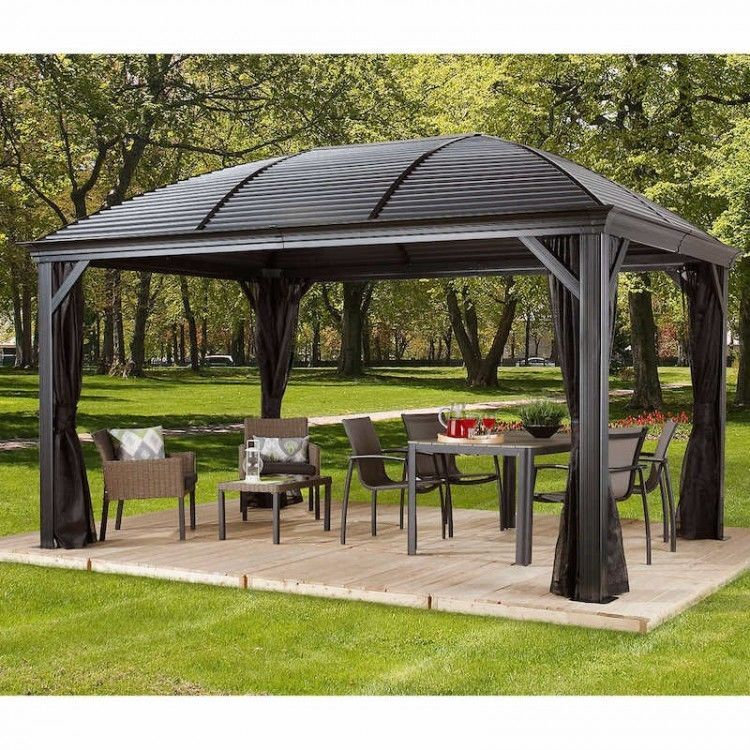 10 X 14 Hardtop Gazebo Metal Steel Aluminum Roof Post Outdoor For Patio Sofa Set Gazebo Hardtop Gazebo Patio Sofa Set