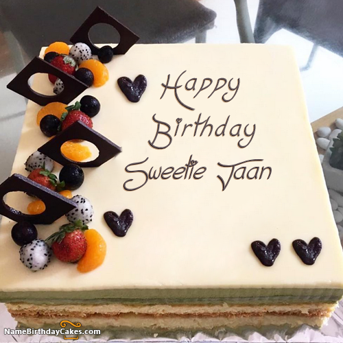 I have written sweetie jaan Name on Cakes and Wishes on this